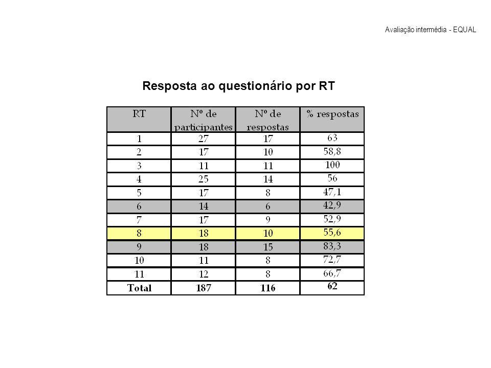 Resposta ao questionário por RT Avaliação intermédia - EQUAL