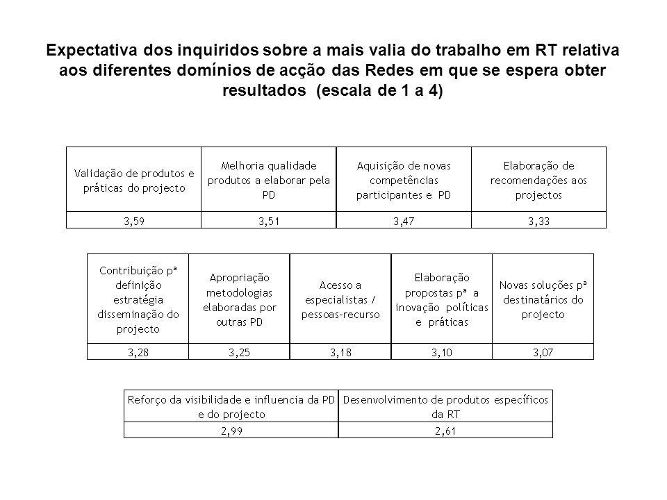 Expectativa dos inquiridos sobre a mais valia do trabalho em RT relativa aos diferentes domínios de acção das Redes em que se espera obter resultados