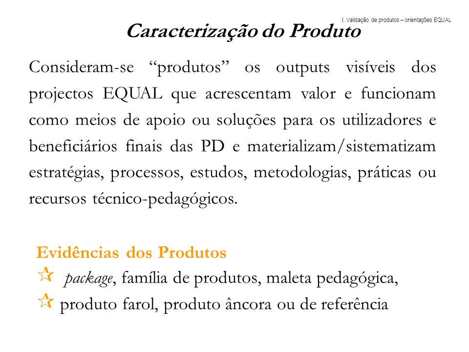 Evidências dos Produtos package, família de produtos, maleta pedagógica, produto farol, produto âncora ou de referência Caracterização do Produto Cons
