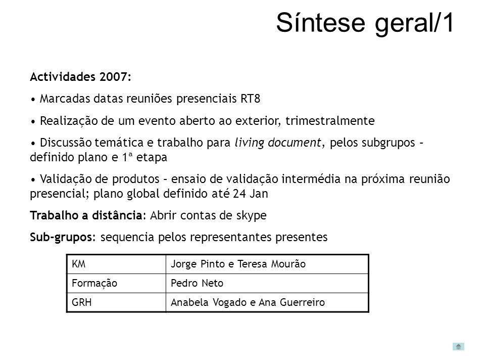 Síntese geral/1 Actividades 2007: Marcadas datas reuniões presenciais RT8 Realização de um evento aberto ao exterior, trimestralmente Discussão temáti