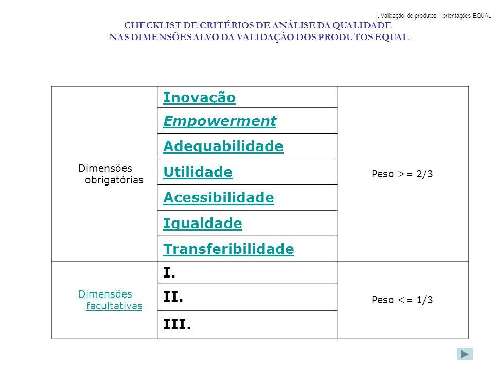 Dimensões obrigatórias Inovação Peso >= 2/3 Empowerment Adequabilidade Utilidade Acessibilidade Igualdade Transferibilidade Dimensões facultativas I.