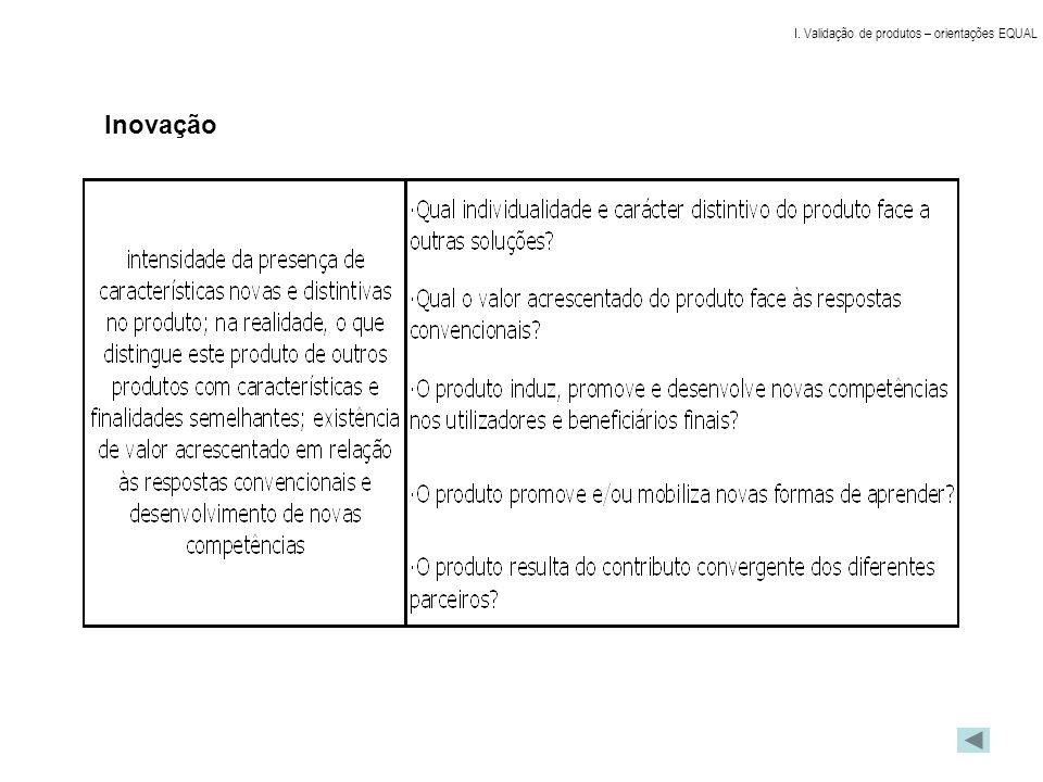 Síntese Dimensões facultativas da grelha de validação de produtos: definidas 3 dimensões, sendo que uma só se aplica em validação intermédia Plano de validações: falta informação de 5 dos 9 projectos Estratégias de recomendações aos projectos: a implementar a partir do trabalho dos sub-grupos I.