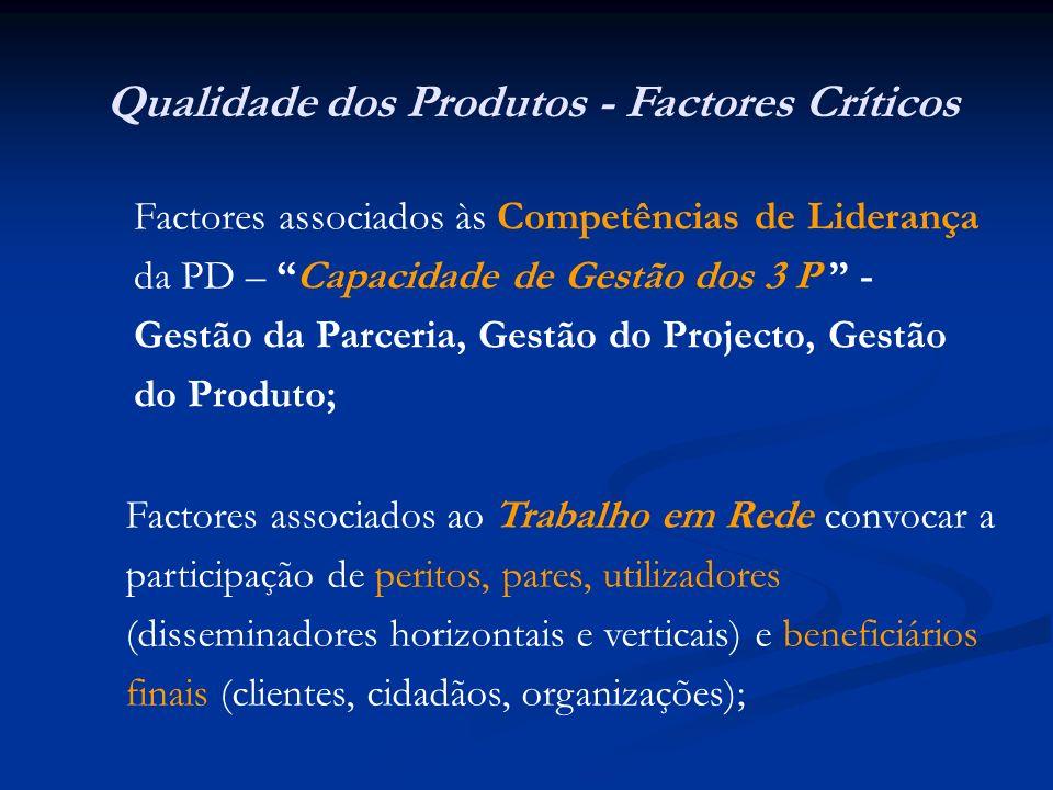 Qualidade dos Produtos - Factores Críticos Factores associados às Competências de Liderança da PD – Capacidade de Gestão dos 3 P - Gestão da Parceria, Gestão do Projecto, Gestão do Produto; Factores associados ao Trabalho em Rede convocar a participação de peritos, pares, utilizadores (disseminadores horizontais e verticais) e beneficiários finais (clientes, cidadãos, organizações);