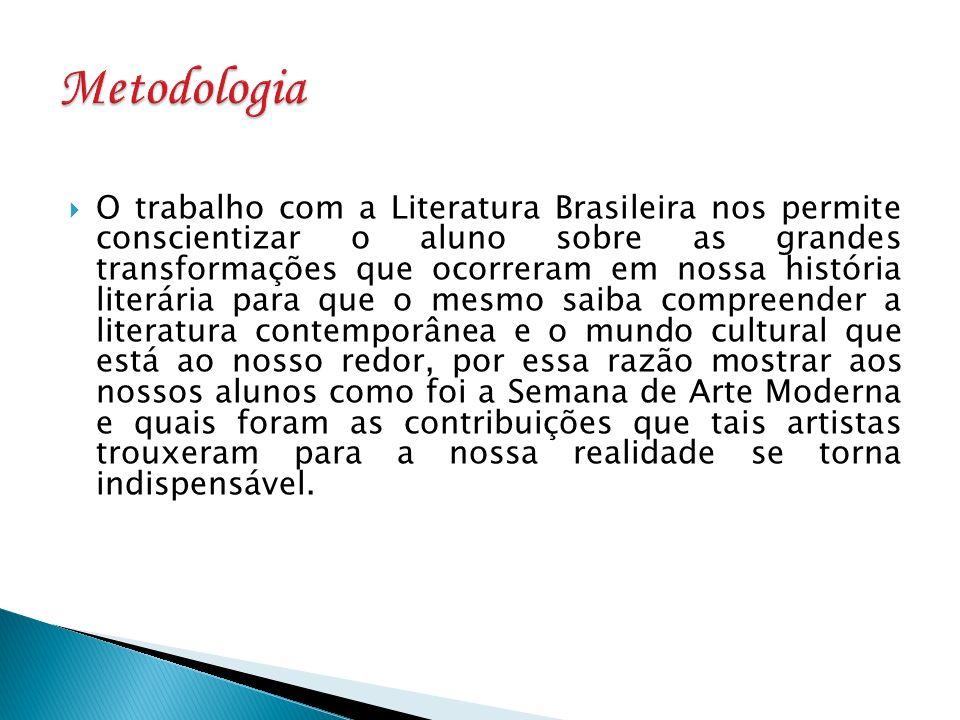 O trabalho com a Literatura Brasileira nos permite conscientizar o aluno sobre as grandes transformações que ocorreram em nossa história literária par
