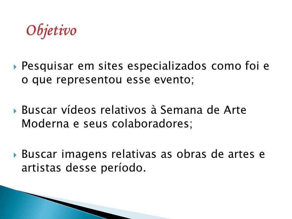 Pesquisar em sites especializados como foi e o que representou esse evento; Buscar vídeos relativos à Semana de Arte Moderna e seus colaboradores; Bus