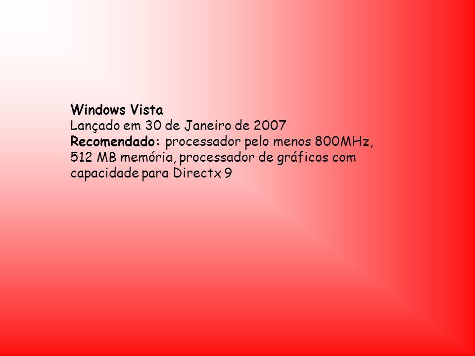 Windows Vista Lançado em 30 de Janeiro de 2007 Recomendado: processador pelo menos 800MHz, 512 MB memória, processador de gráficos com capacidade para