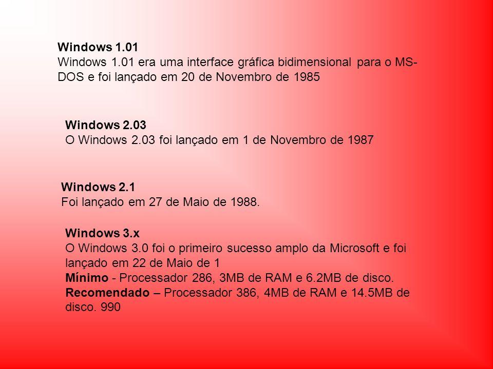 Windows 95 É o primeiro S.O.de 32 bits e foi lançada em 24 de Agosto de 1995.