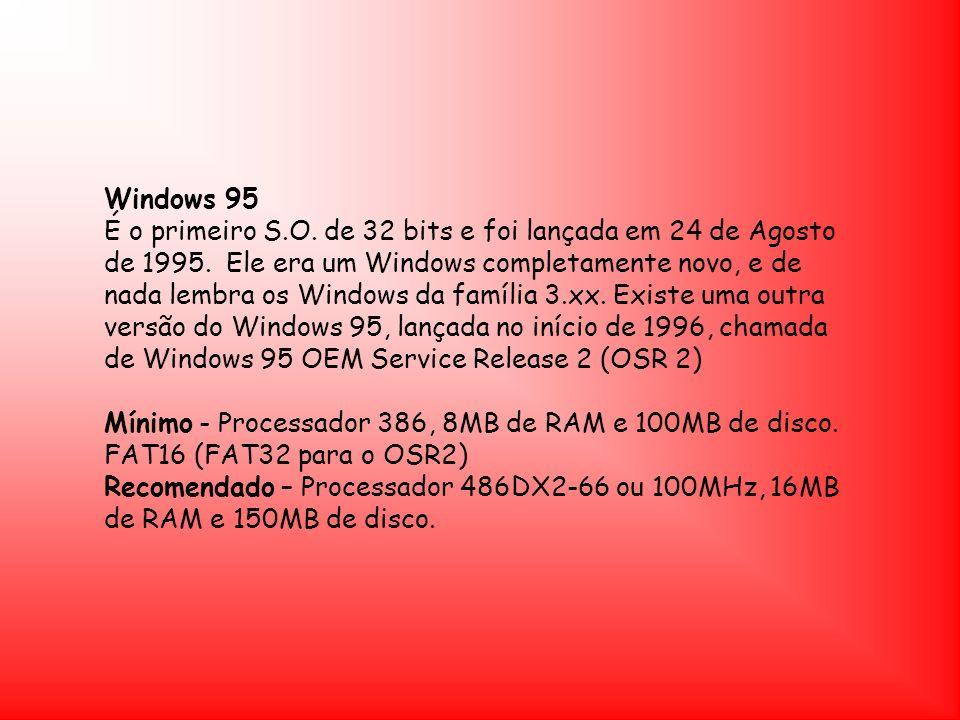 Windows NT O Windows NT foi lançado pela primeira vez pela Microsoft em 1993 Mínimo - Processador 486DX2-66, 16MB de RAM e 120MB de disco.