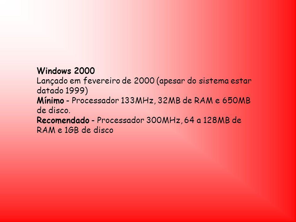 Windows 2000 Lançado em fevereiro de 2000 (apesar do sistema estar datado 1999) Mínimo - Processador 133MHz, 32MB de RAM e 650MB de disco. Recomendado