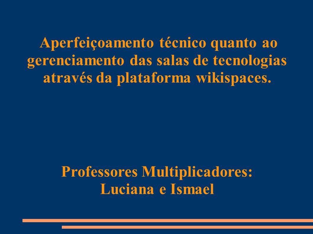 Aperfeiçoamento técnico quanto ao gerenciamento das salas de tecnologias através da plataforma wikispaces.