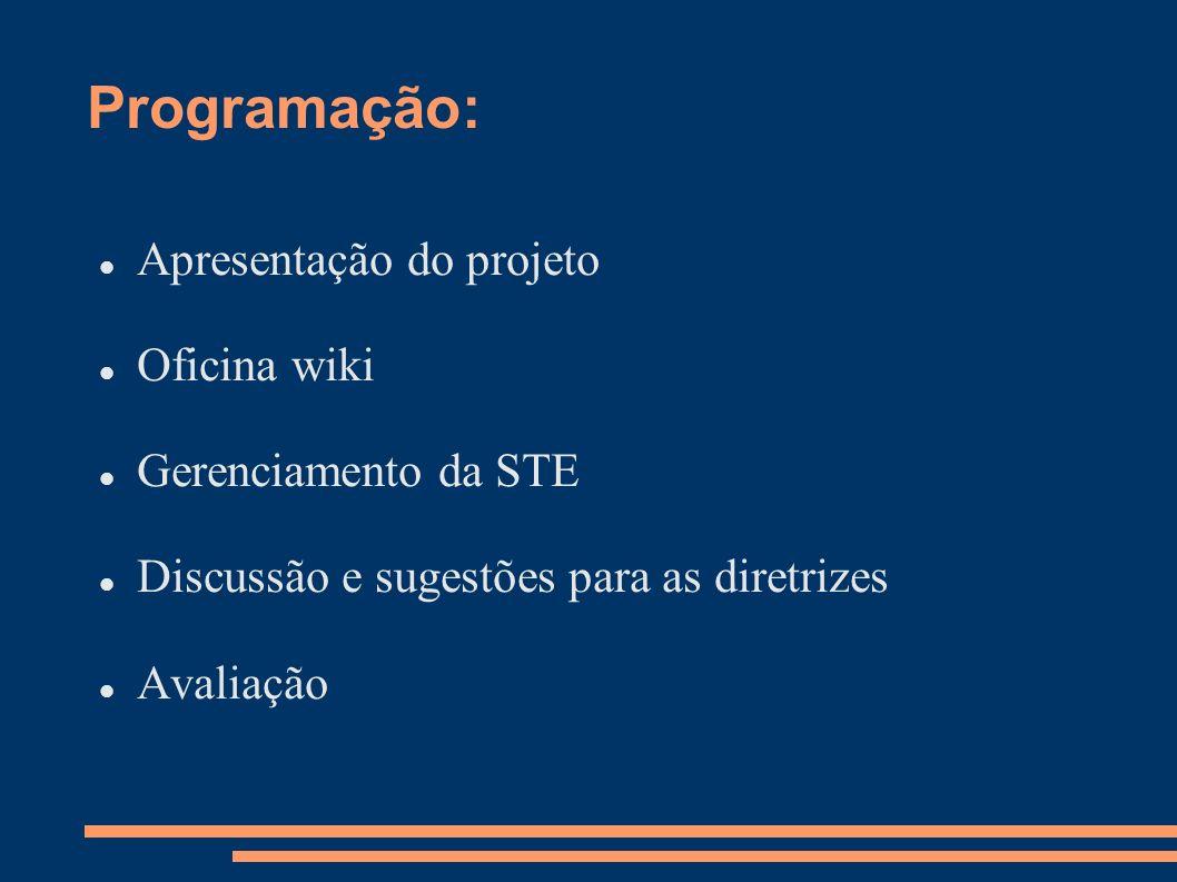 Apresentação do projeto: Objetivos: Orientar na criação e manuseio da wikispaces; Apresentar aos cursistas a metodologia adotada para orientar e acompanhar as atividades de gerenciamento dos professores multiplicadores nas STE; Acompanhar à distância a formatação das wikispaces dos NTE.