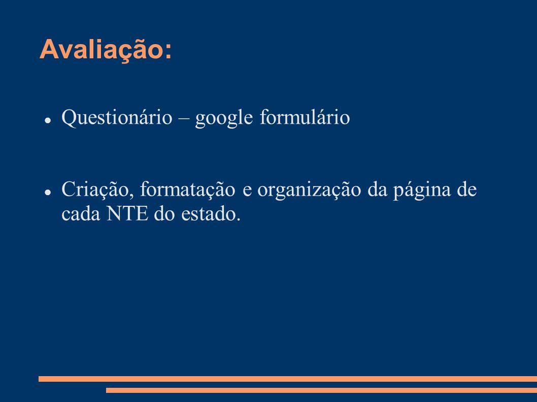 Avaliação: Questionário – google formulário Criação, formatação e organização da página de cada NTE do estado.
