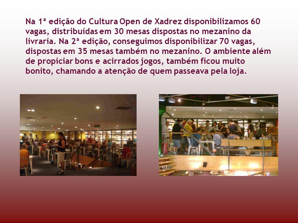 Na 1ª edição do Cultura Open de Xadrez disponibilizamos 60 vagas, distribuídas em 30 mesas dispostas no mezanino da livraria.