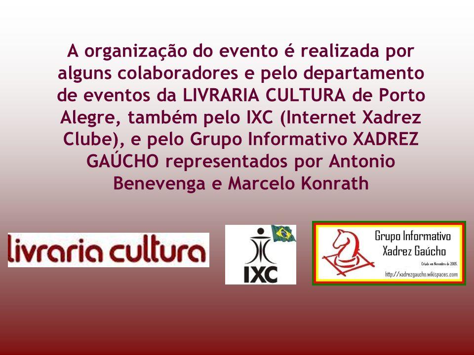 A organização do evento é realizada por alguns colaboradores e pelo departamento de eventos da LIVRARIA CULTURA de Porto Alegre, também pelo IXC (Internet Xadrez Clube), e pelo Grupo Informativo XADREZ GAÚCHO representados por Antonio Benevenga e Marcelo Konrath