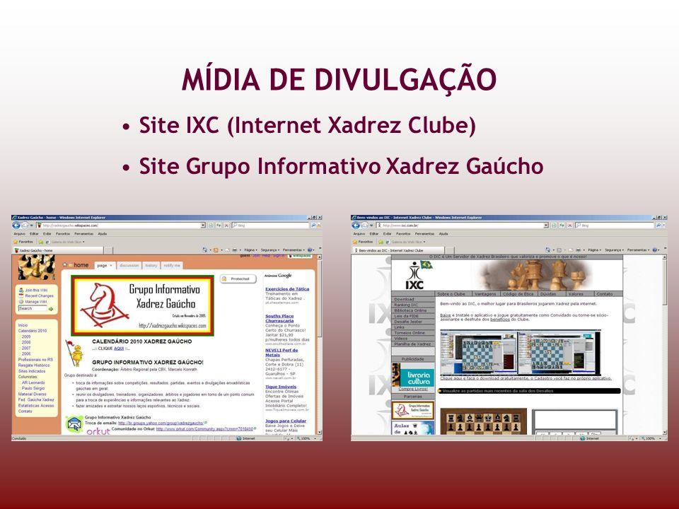 MÍDIA DE DIVULGAÇÃO Site IXC (Internet Xadrez Clube) Site Grupo Informativo Xadrez Gaúcho