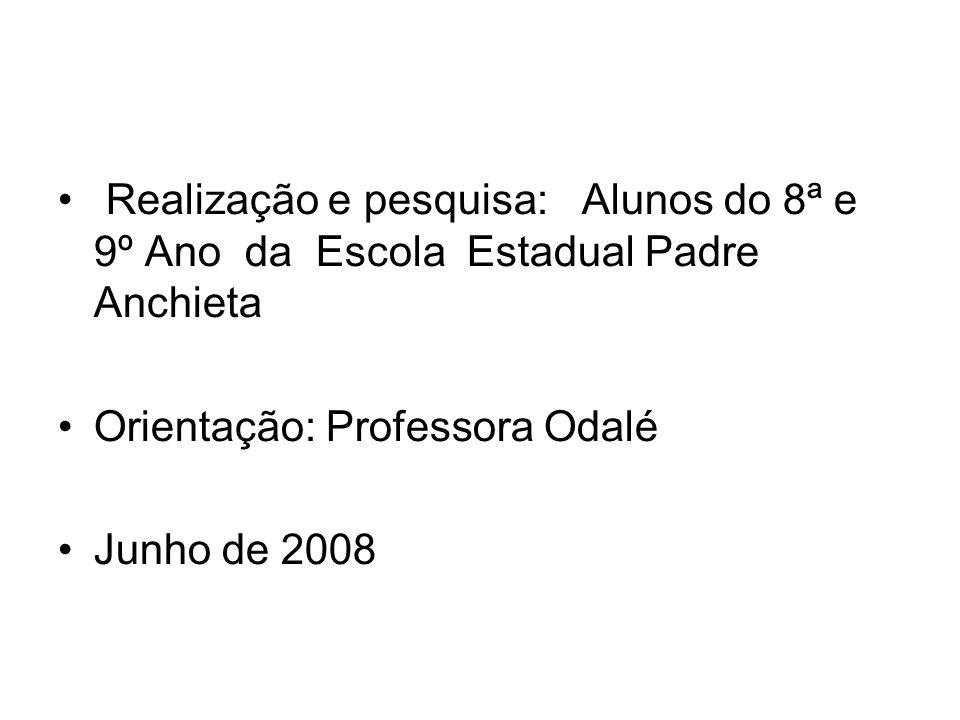 Realização e pesquisa: Alunos do 8ª e 9º Ano da Escola Estadual Padre Anchieta Orientação: Professora Odalé Junho de 2008