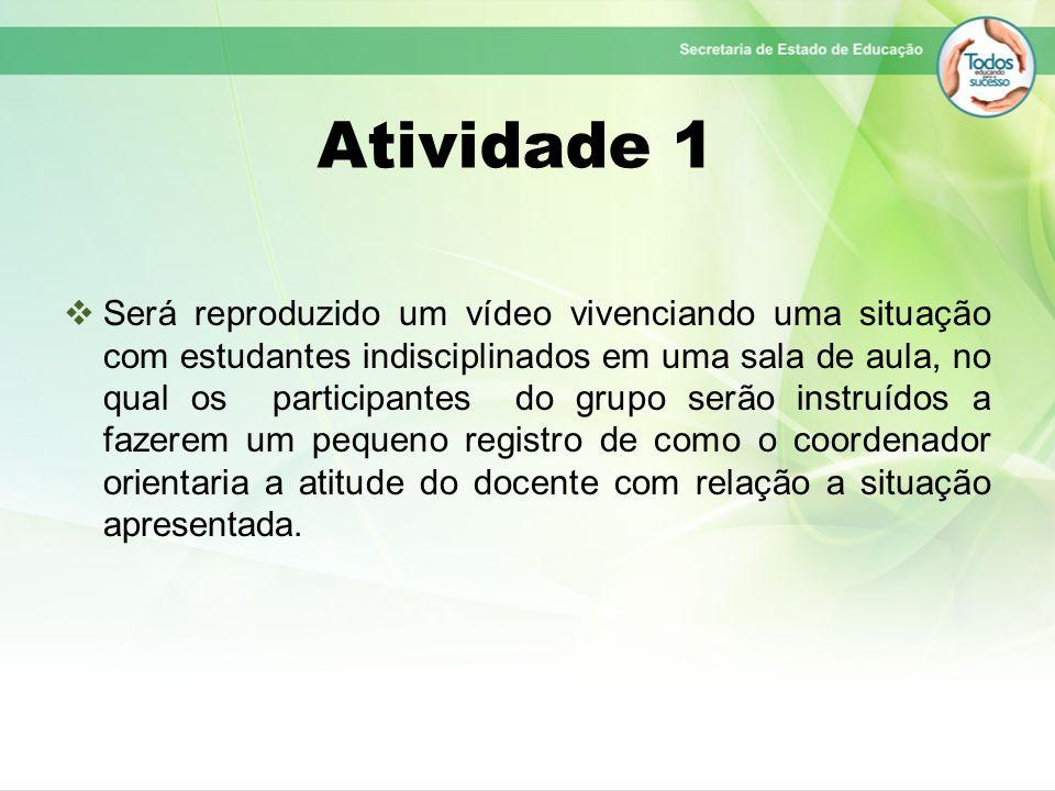 Atividade 1 Será reproduzido um vídeo vivenciando uma situação com estudantes indisciplinados em uma sala de aula, no qual os participantes do grupo s