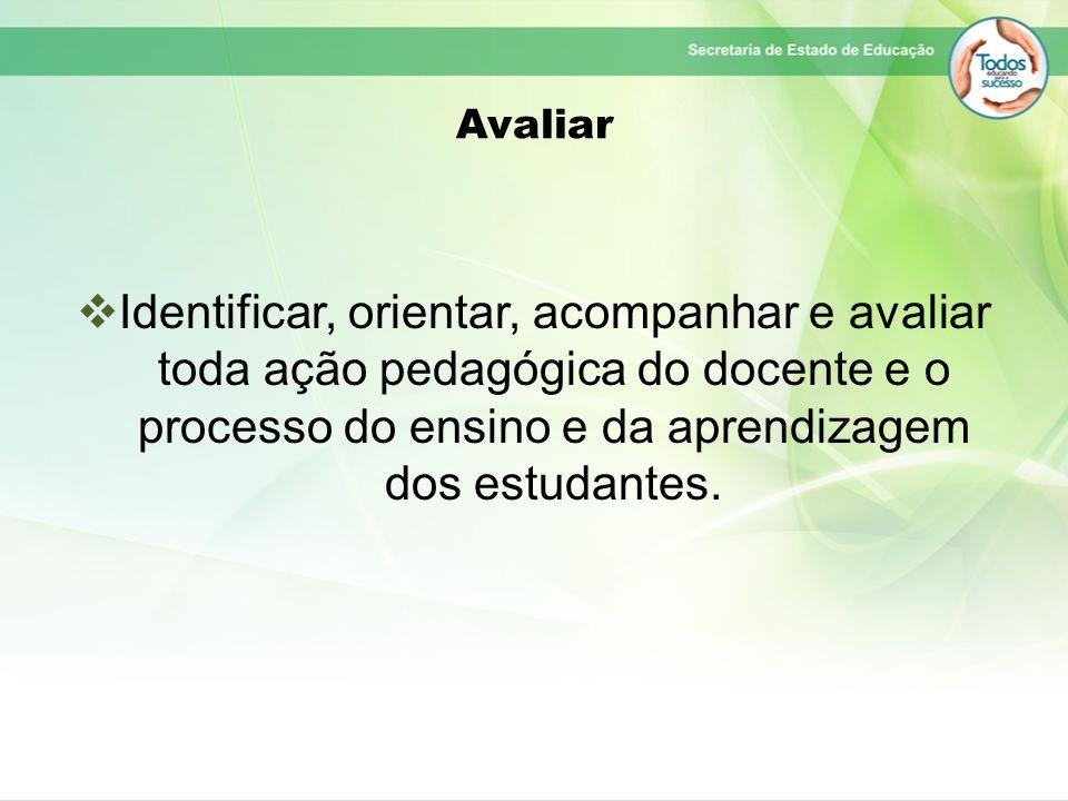 Avaliar Identificar, orientar, acompanhar e avaliar toda ação pedagógica do docente e o processo do ensino e da aprendizagem dos estudantes.