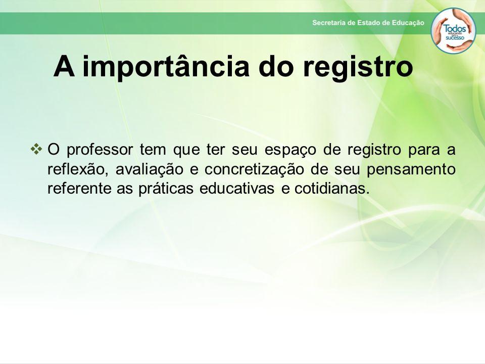 A importância do registro O professor tem que ter seu espaço de registro para a reflexão, avaliação e concretização de seu pensamento referente as prá