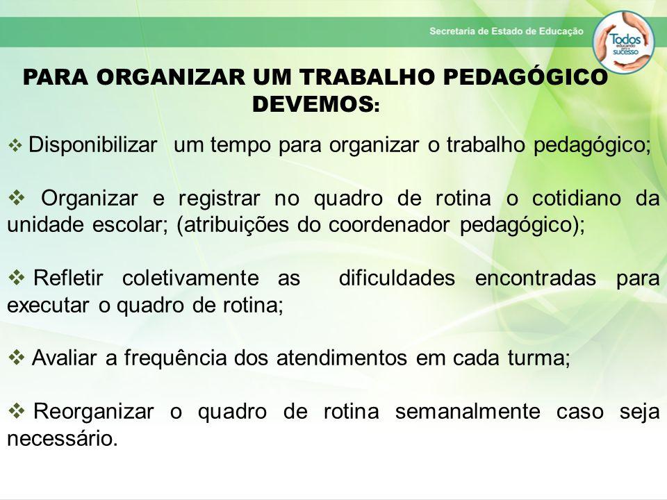 PARA ORGANIZAR UM TRABALHO PEDAGÓGICO DEVEMOS : Disponibilizar um tempo para organizar o trabalho pedagógico; Organizar e registrar no quadro de rotin