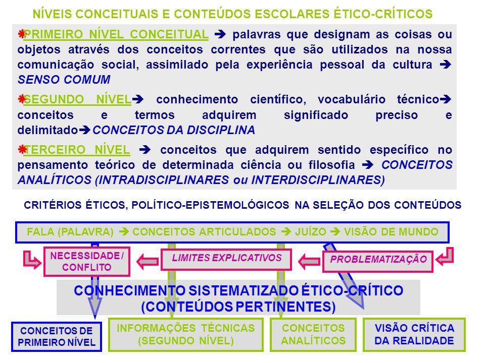 PRIMEIRO NÍVEL CONCEITUAL palavras que designam as coisas ou objetos através dos conceitos correntes que são utilizados na nossa comunicação social, a