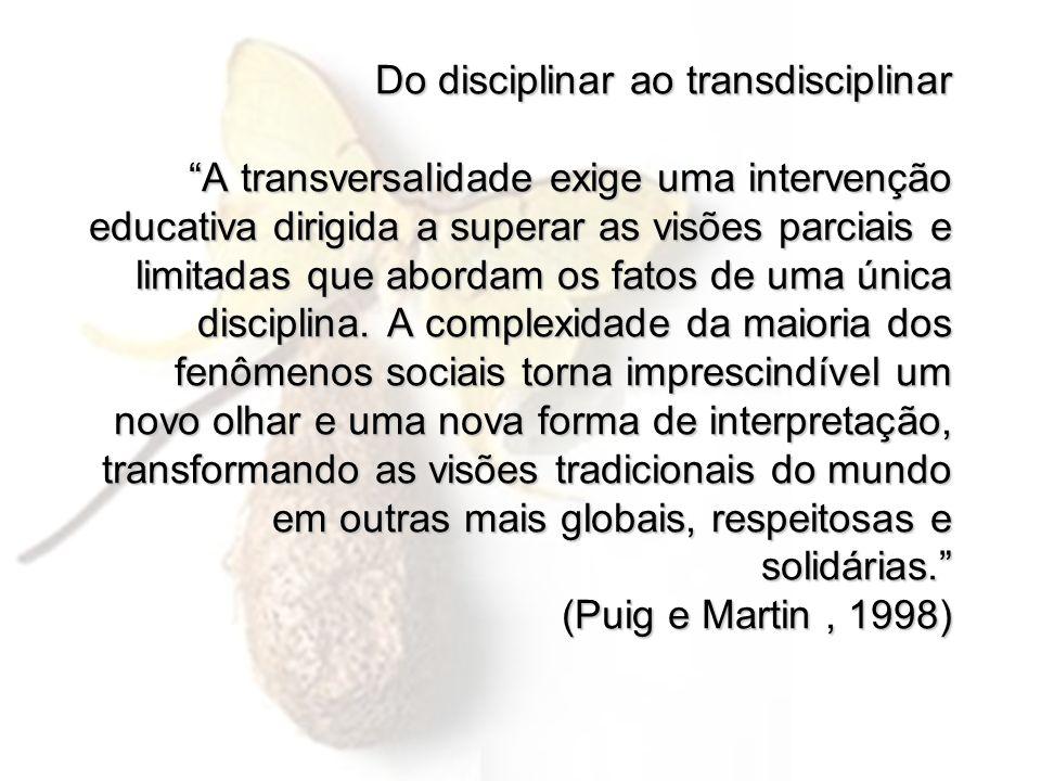 Do disciplinar ao transdisciplinar A transversalidade exige uma intervenção educativa dirigida a superar as visões parciais e limitadas que abordam os