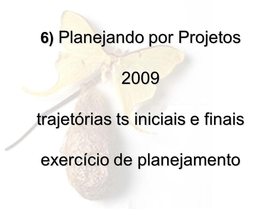 6) Planejando por Projetos 2009 trajetórias ts iniciais e finais exercício de planejamento 6) Planejando por Projetos 2009 trajetórias ts iniciais e f