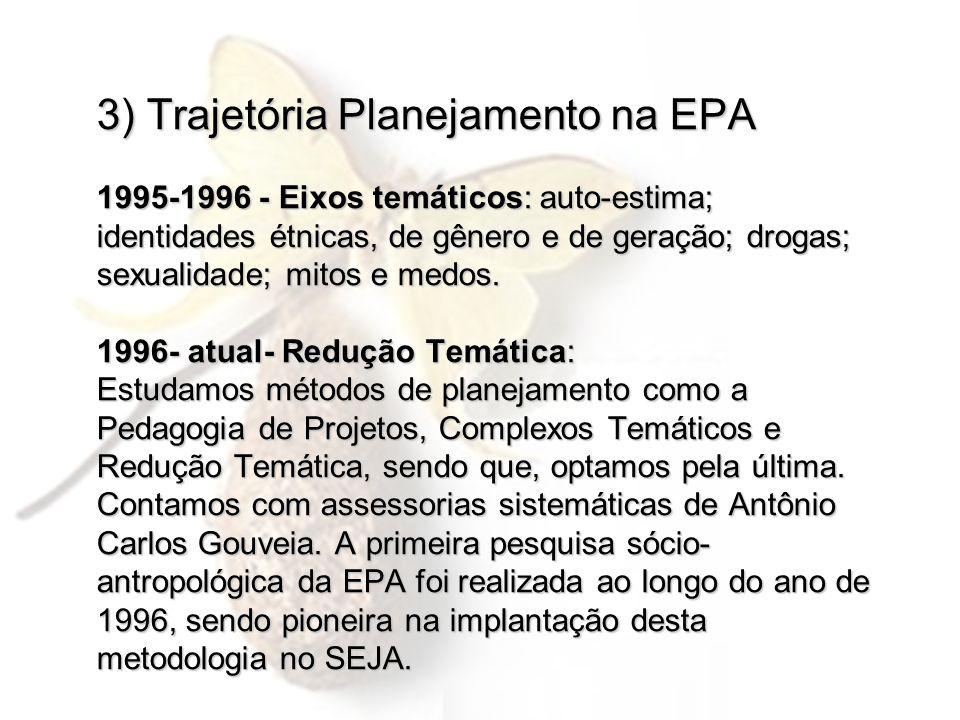 3) Trajetória Planejamento na EPA 1995-1996 - Eixos temáticos: auto-estima; identidades étnicas, de gênero e de geração; drogas; sexualidade; mitos e