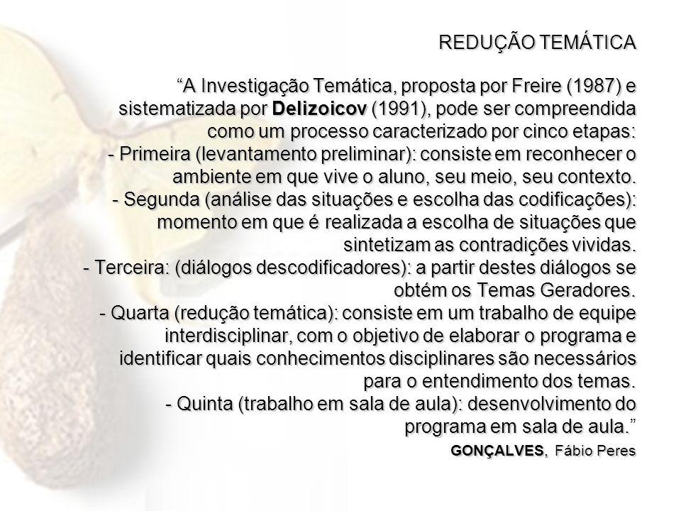 REDUÇÃO TEMÁTICA A Investigação Temática, proposta por Freire (1987) e sistematizada por Delizoicov (1991), pode ser compreendida como um processo car