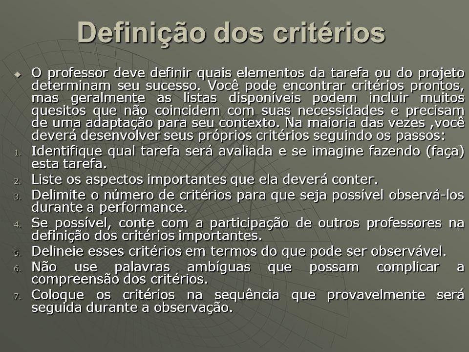 Definição dos critérios O professor deve definir quais elementos da tarefa ou do projeto determinam seu sucesso. Você pode encontrar critérios prontos