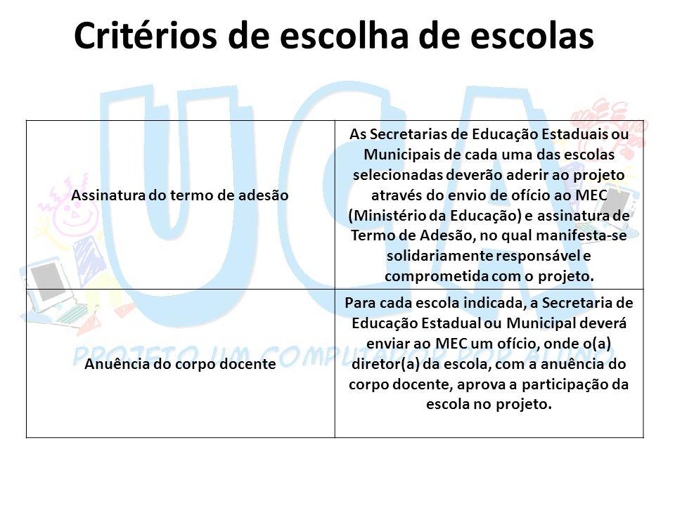 Critérios de escolha de escolas Assinatura do termo de adesão As Secretarias de Educação Estaduais ou Municipais de cada uma das escolas selecionadas