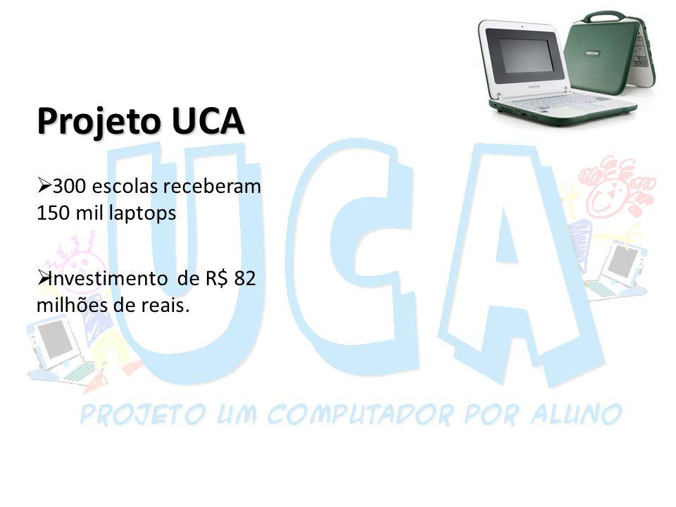 Projeto UCA 300 escolas receberam 150 mil laptops Investimento de R$ 82 milhões de reais.