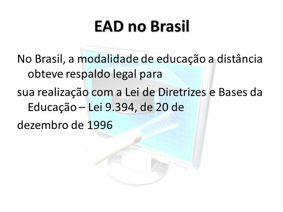 EAD no Brasil No Brasil, a modalidade de educação a distância obteve respaldo legal para sua realização com a Lei de Diretrizes e Bases da Educação –