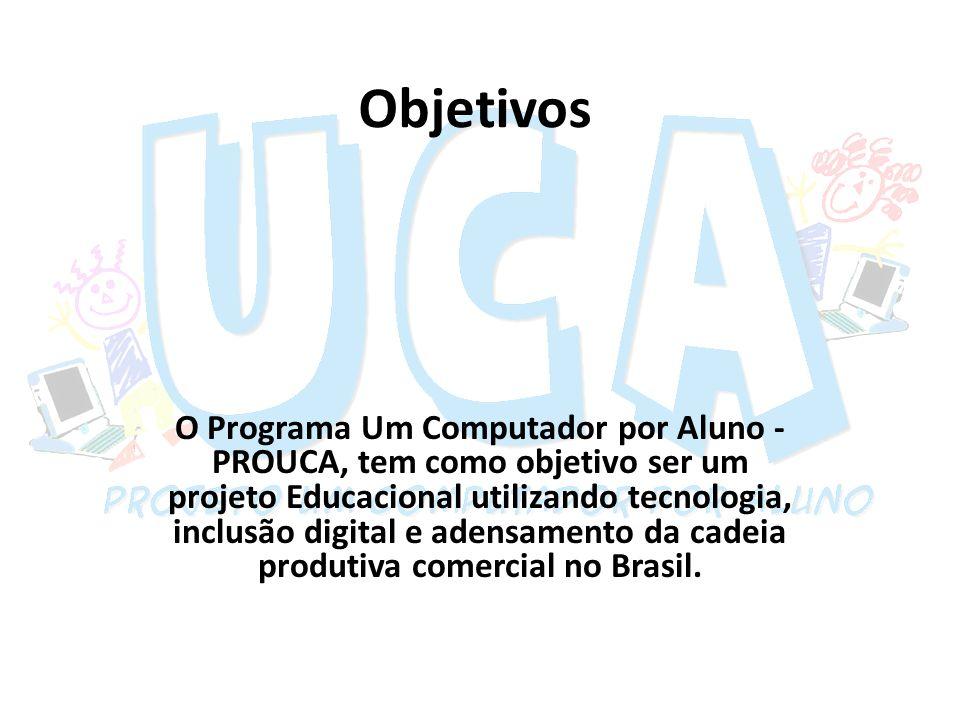 Objetivos O Programa Um Computador por Aluno - PROUCA, tem como objetivo ser um projeto Educacional utilizando tecnologia, inclusão digital e adensame