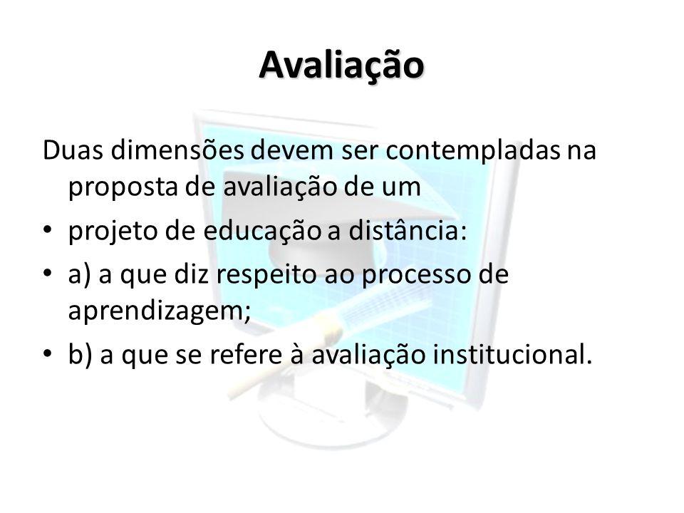 Avaliação Duas dimensões devem ser contempladas na proposta de avaliação de um projeto de educação a distância: a) a que diz respeito ao processo de a