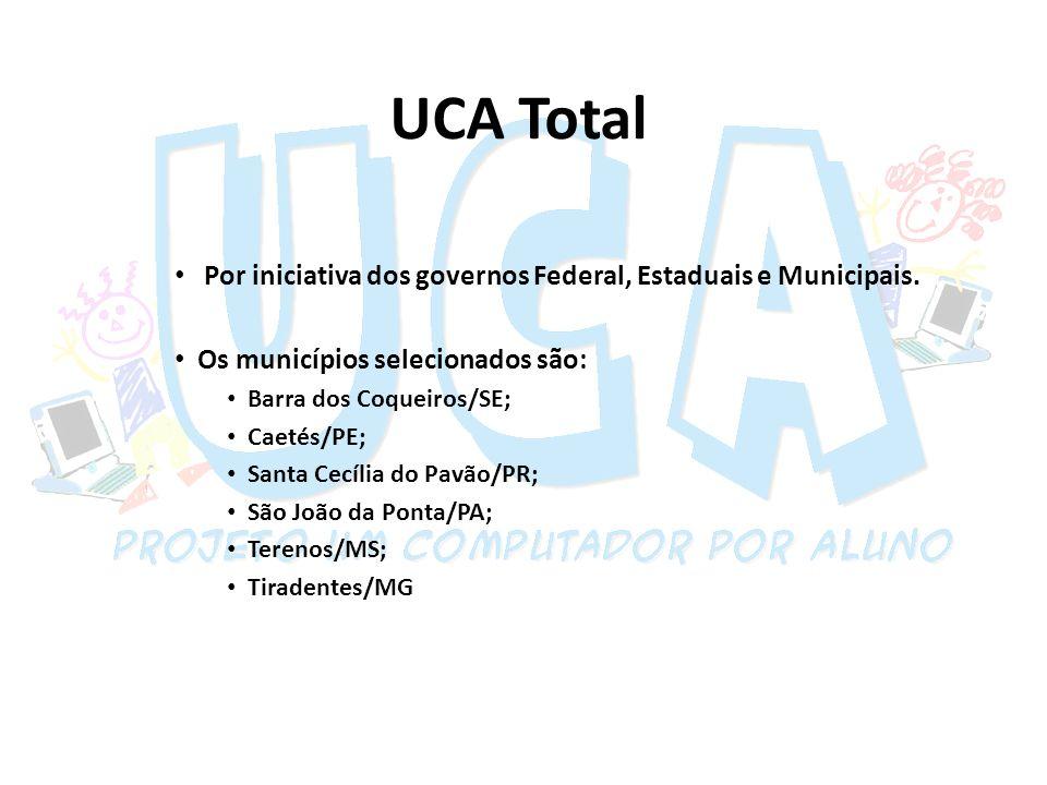UCA Total Por iniciativa dos governos Federal, Estaduais e Municipais. Os municípios selecionados são: Barra dos Coqueiros/SE; Caetés/PE; Santa Cecíli