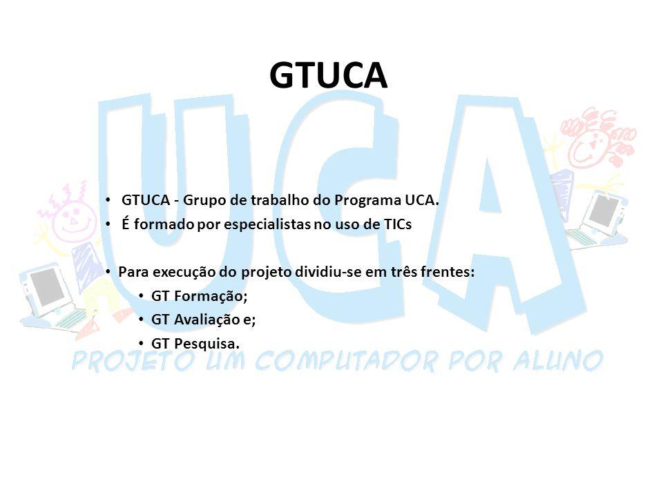 GTUCA GTUCA - Grupo de trabalho do Programa UCA. É formado por especialistas no uso de TICs Para execução do projeto dividiu-se em três frentes: GT Fo
