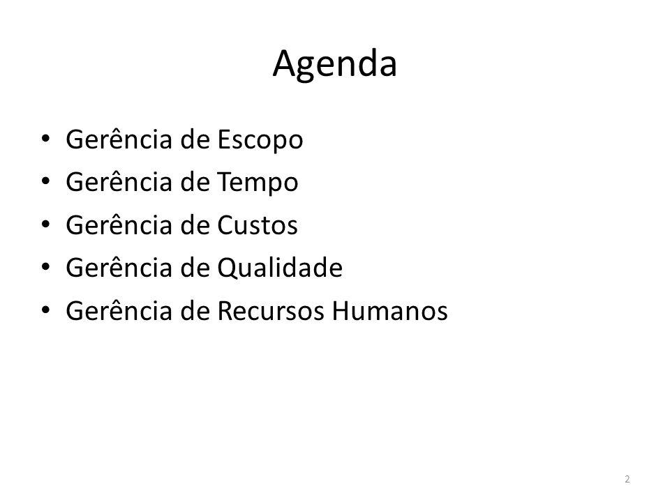 Agenda Gerência de Escopo Gerência de Tempo Gerência de Custos Gerência de Qualidade Gerência de Recursos Humanos 2