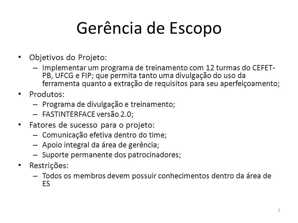 Gerência de Escopo Objetivos do Projeto: – Implementar um programa de treinamento com 12 turmas do CEFET- PB, UFCG e FIP; que permita tanto uma divulg