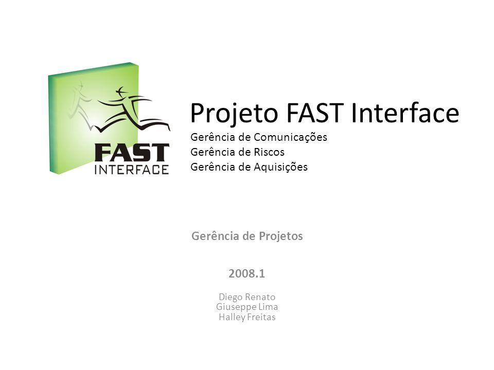 Projeto FAST Interface Gerência de Projetos 2008.1 Diego Renato Giuseppe Lima Halley Freitas Gerência de Comunicações Gerência de Riscos Gerência de A