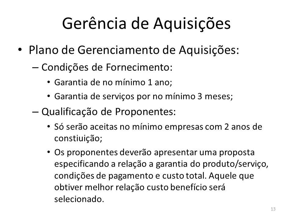 Gerência de Aquisições Plano de Gerenciamento de Aquisições: – Condições de Fornecimento: Garantia de no mínimo 1 ano; Garantia de serviços por no mín