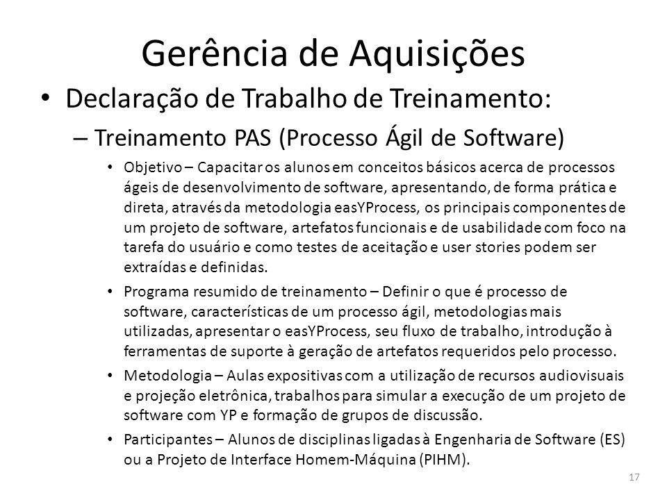 Gerência de Aquisições Declaração de Trabalho de Treinamento: – Treinamento PAS (Processo Ágil de Software) Objetivo – Capacitar os alunos em conceito