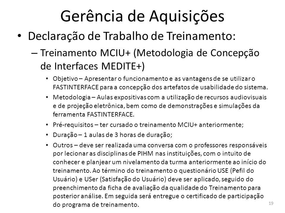 Gerência de Aquisições Declaração de Trabalho de Treinamento: – Treinamento MCIU+ (Metodologia de Concepção de Interfaces MEDITE+) Objetivo – Apresent