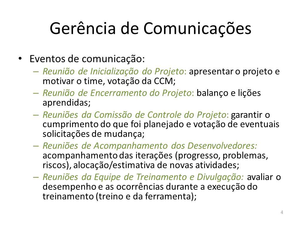 Gerência de Comunicações Eventos de comunicação: – Reunião de Inicialização do Projeto: apresentar o projeto e motivar o time, votação da CCM; – Reuni