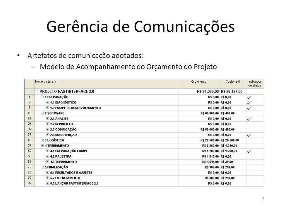 Gerência de Comunicações Artefatos de comunicação adotados: – Principais Entregas e Marcos 8