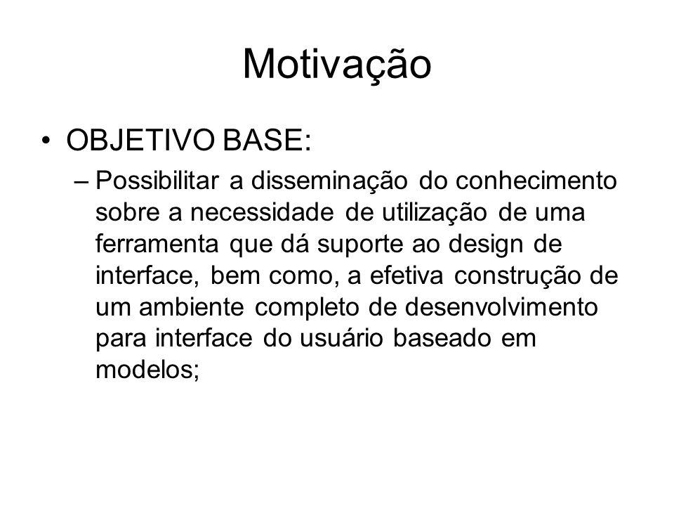 Motivação OBJETIVO BASE: –Possibilitar a disseminação do conhecimento sobre a necessidade de utilização de uma ferramenta que dá suporte ao design de