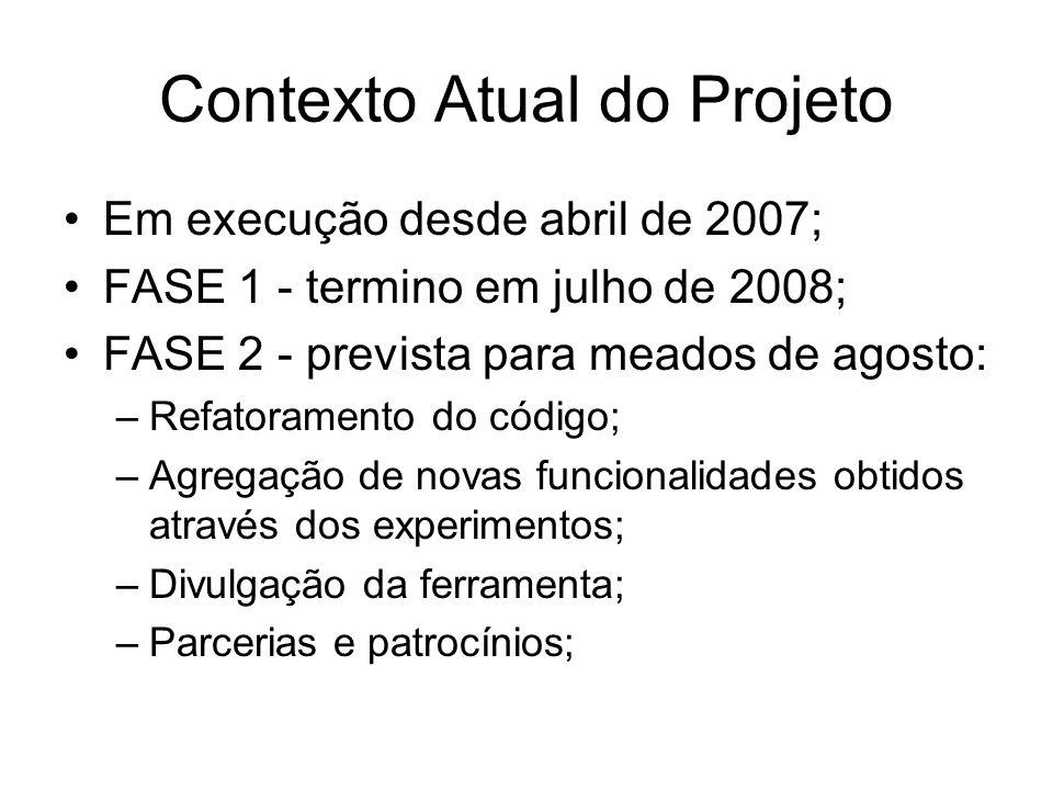 Contexto Atual do Projeto Em execução desde abril de 2007; FASE 1 - termino em julho de 2008; FASE 2 - prevista para meados de agosto: –Refatoramento
