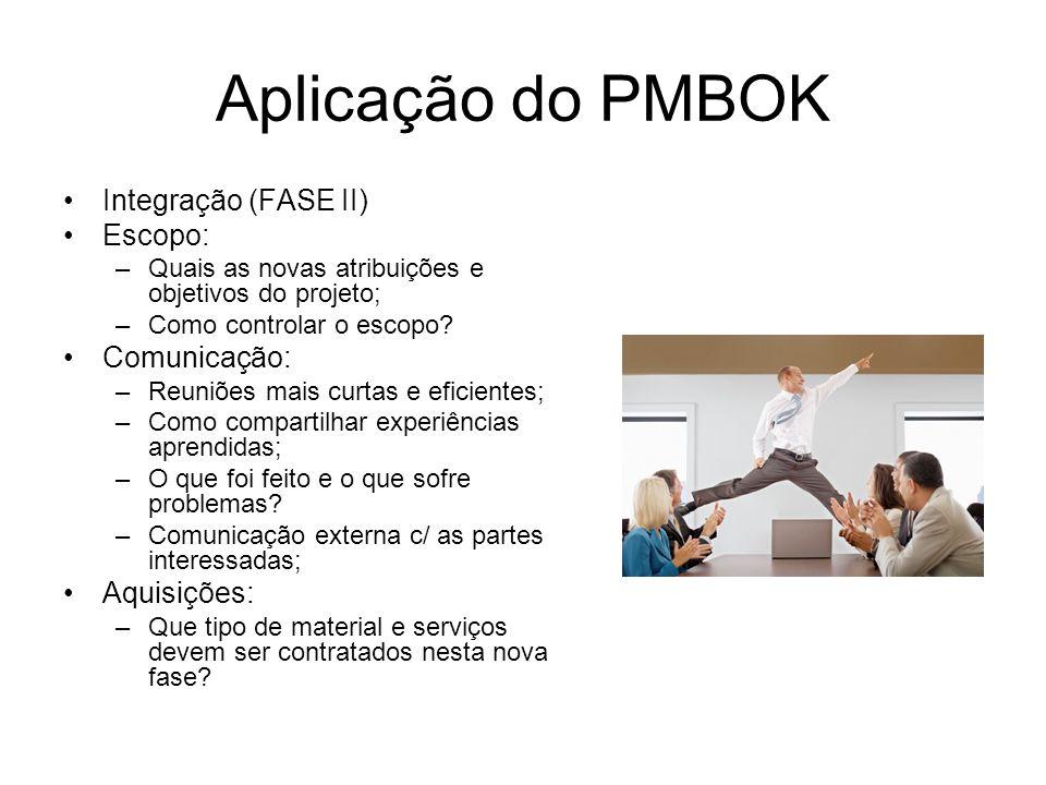 Aplicação do PMBOK Integração (FASE II) Escopo: –Quais as novas atribuições e objetivos do projeto; –Como controlar o escopo? Comunicação: –Reuniões m