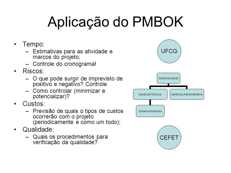 Aplicação do PMBOK Tempo: –Estimativas para as atividade e marcos do projeto; –Controle do cronograma! Riscos: –O que pode surgir de imprevisto de pos