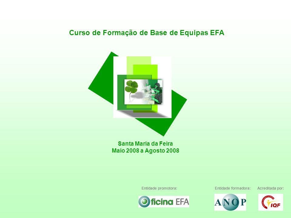 Curso de Formação de Base de Equipas EFA Santa Maria da Feira Maio 2008 a Agosto 2008 Entidade promotora:Entidade formadora:Acreditada por: